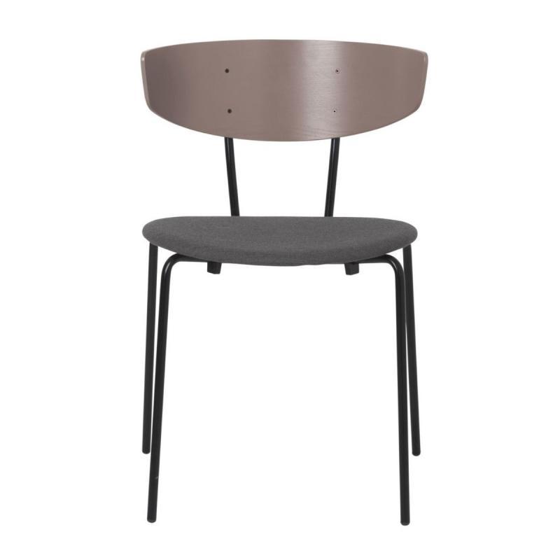 Herman Dining Chair, Dark Rose Back Rest / Warm Grey Base Upholstery / Black Base