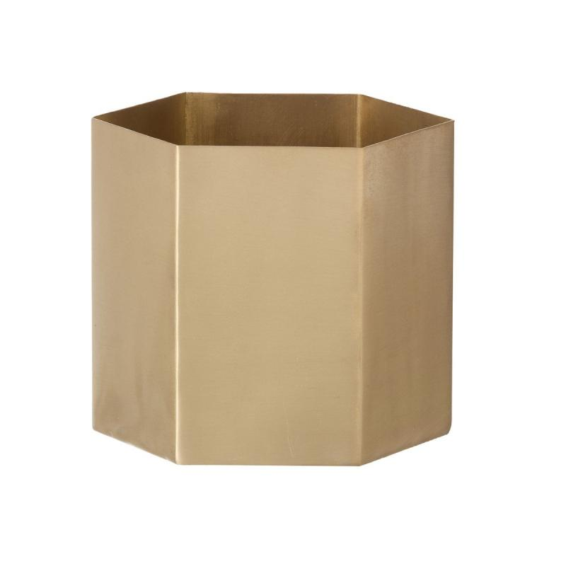 Hexagon Pot, S, Brass
