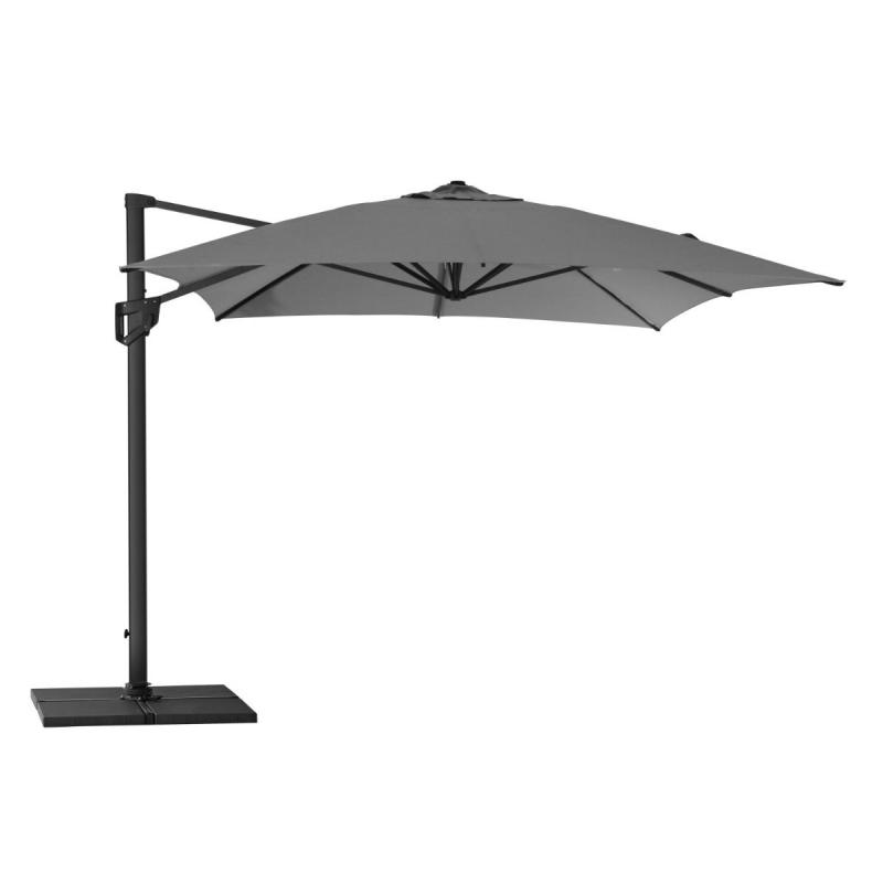 Hyde Luxe Hanging Parasol, 3x4m, Including Base, Anthracite