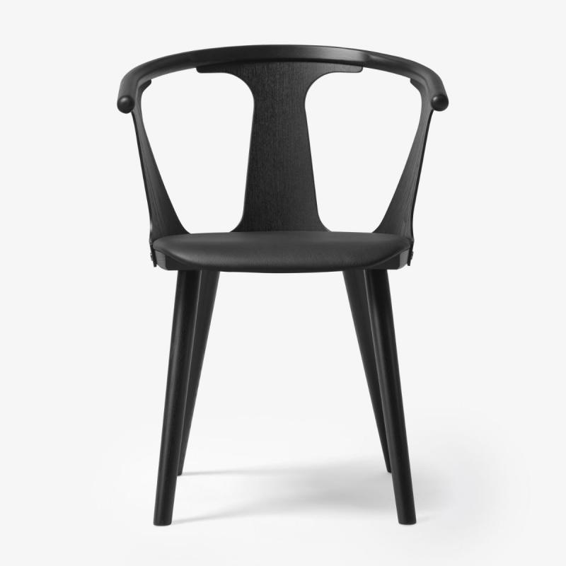 In Between Chair SK2, Black Silk Leather Seat / Black Lacquered Oak Base