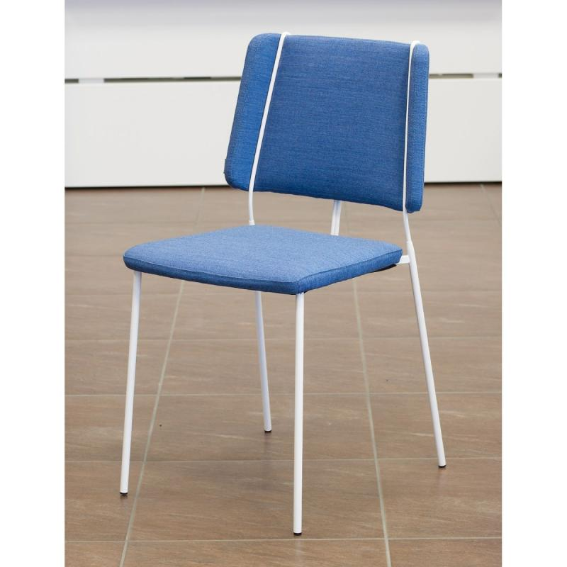 Frankie XL Chair, Blue Seat / White Frame