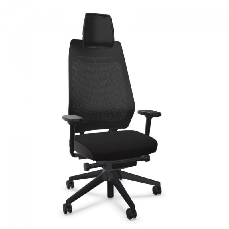 JOYCEis3 JC218 Office Chair With Headrest, Mesh Backrest / Black Seat / Black Base