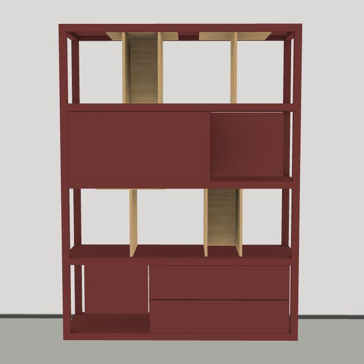 Kai Shelf, 117x156cm, Red Brown and Natural Oak