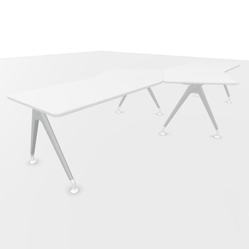 Kima 150° Wing Workstations, Set of 2, 351x188.5cm, White Laminate Top / Metallic Aluminium Frame