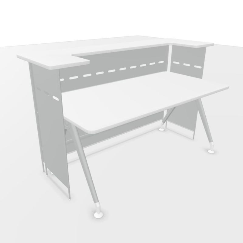 Kima Closed Reception Counter With Desk, 177x88.6cm, White Laminate Top / Metallic Aluminium Frame