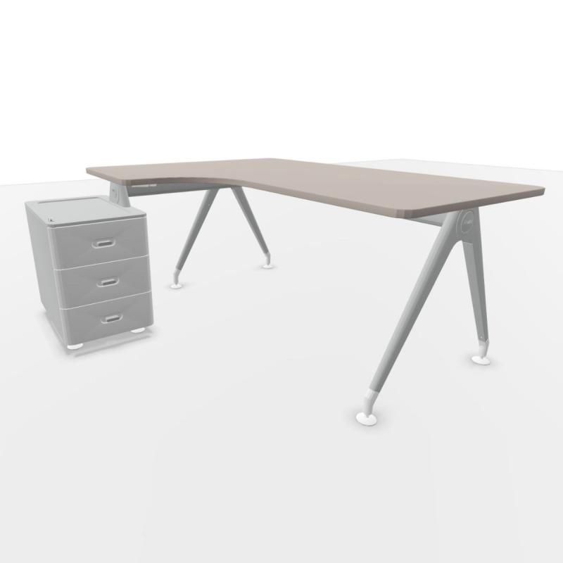 Kima Compact Desk, With Support Pedestal, 160/150.5x80cm, Stone Grey Laminate Top / Metallic Aluminium Frame