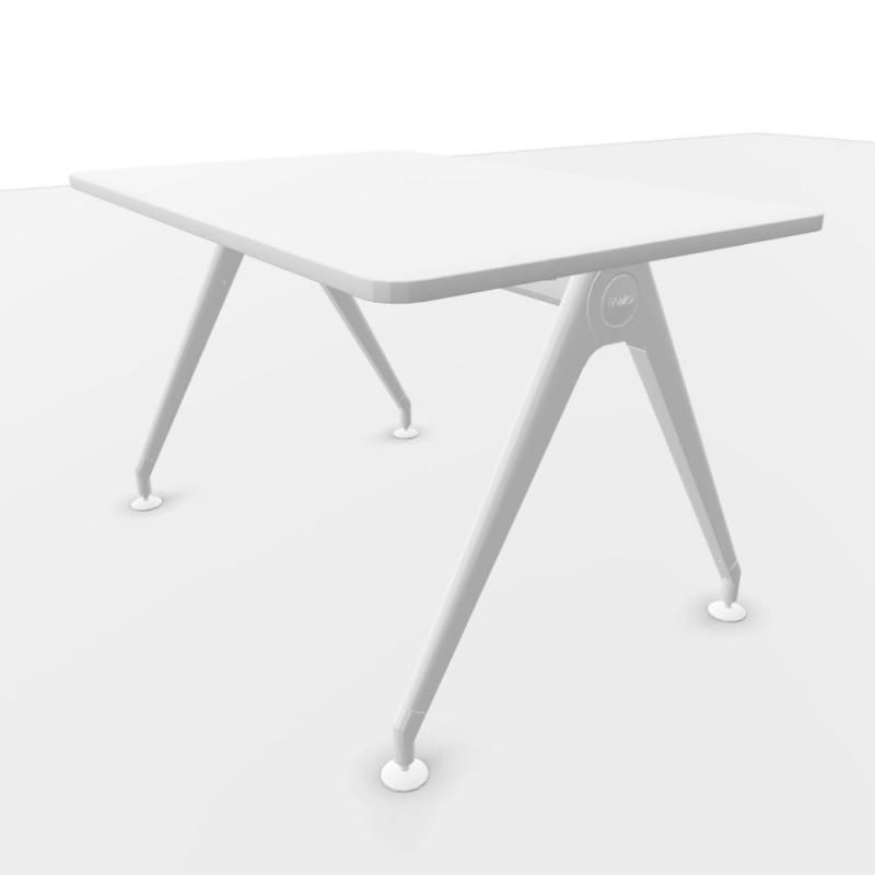 Kima Desk, 120x80cm, White Laminate Top / White Frame
