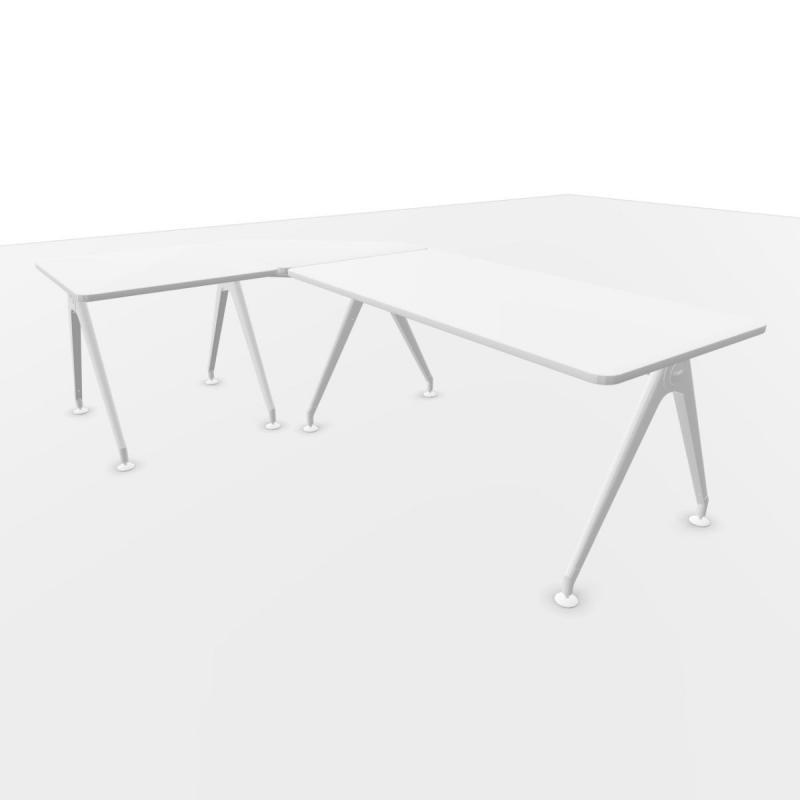 Kima Desk, 160/100x80cm, White Laminate Top / White Frame