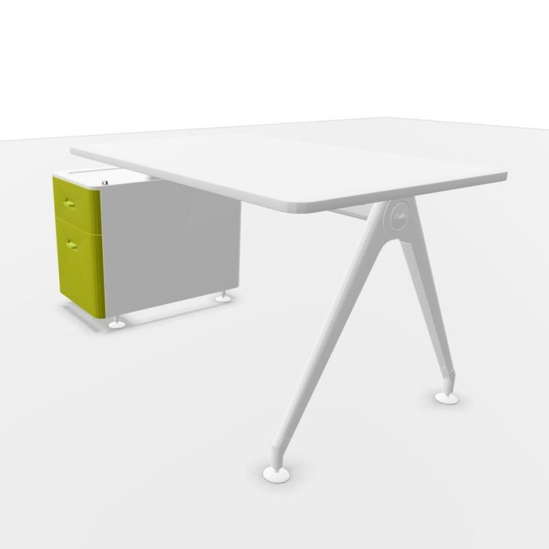 Kima Desk, With Exterior Support Pedestal, 150.5x80cm, White Laminate Top / White Frame