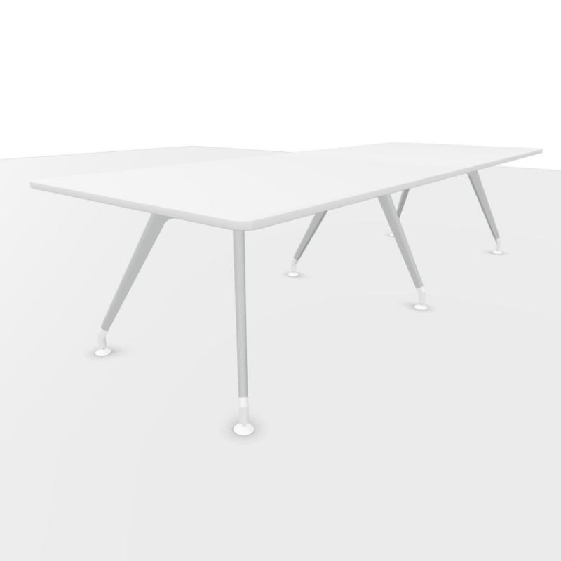 Kima Meeting Table, 300x110cm, White Laminate Top / Metallic Aluminium Frame