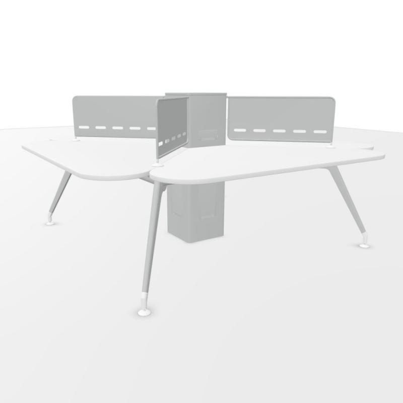 Kima Quadruple Bench Table With Screens, 260x260cm, White Laminate Top / Metallic Aluminium Frame
