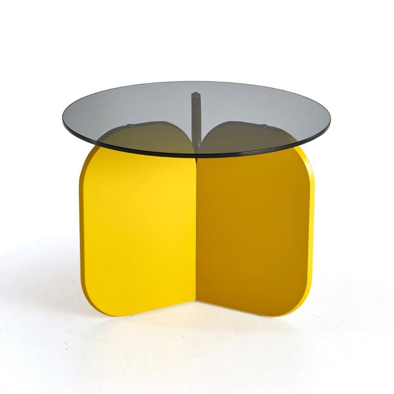 La Isla Occasional Table, Grey Glass Top / Yellow MDF Base
