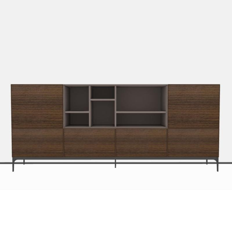 Lauki Sideboard, 256x108cm, Natural Walnut and Purple Beige