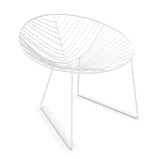 Leaf Armchair, White Shell / White Sled Base