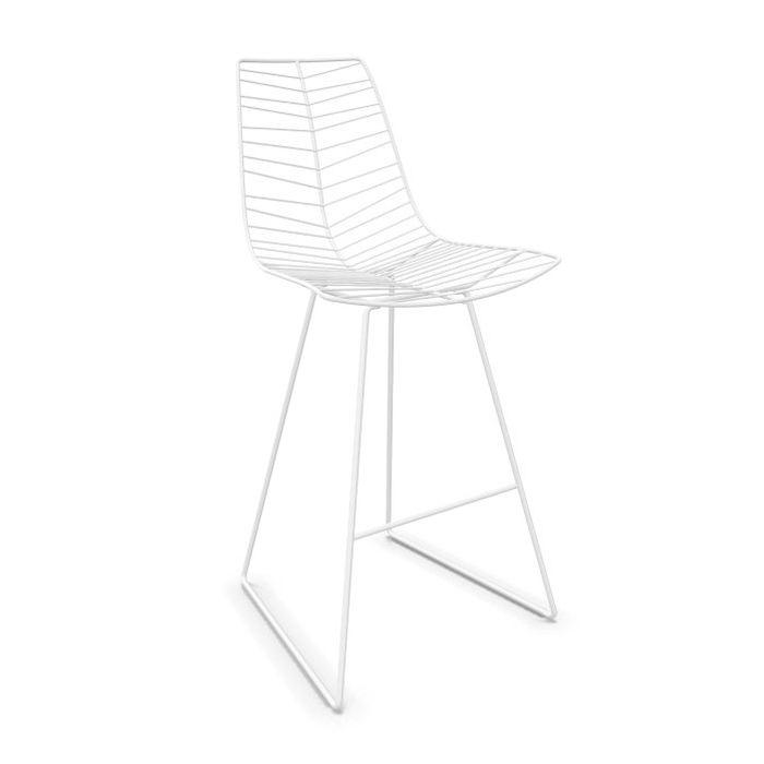 Leaf Bar Stool, H74cm, White Shell / White Sled Base