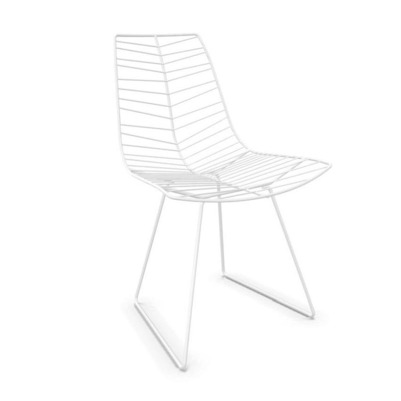 Leaf Chair, White Shell / White Sled Base