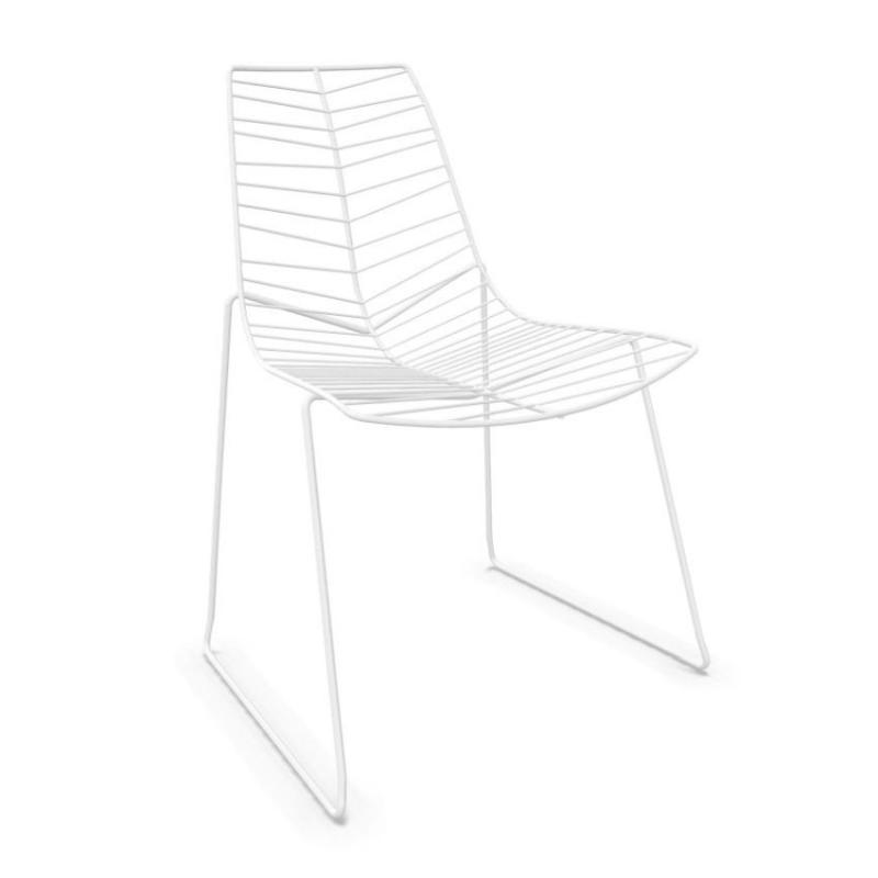 Leaf Chair, White Shell / White Sled Base, Stackable