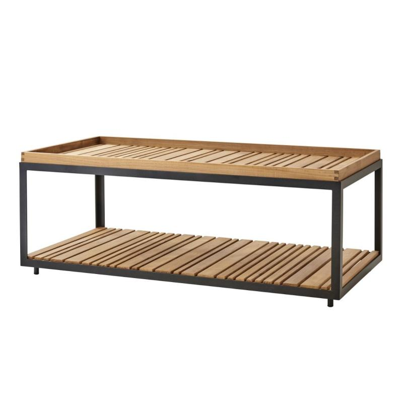 Level Coffee Table, Rectangular, Teak Top / Lava Grey Base
