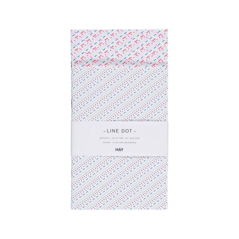 Line Dot Two Booklets, M, Blue / Pink