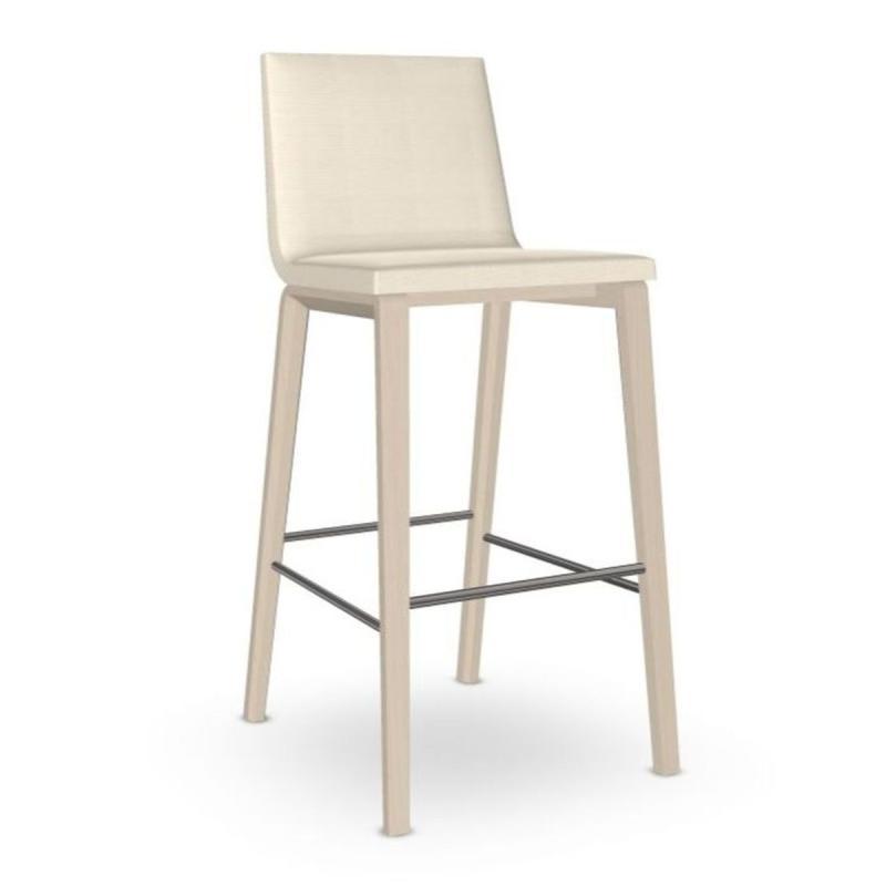 Lineal Comfort Barstool, White Upholstery / Beech Frame