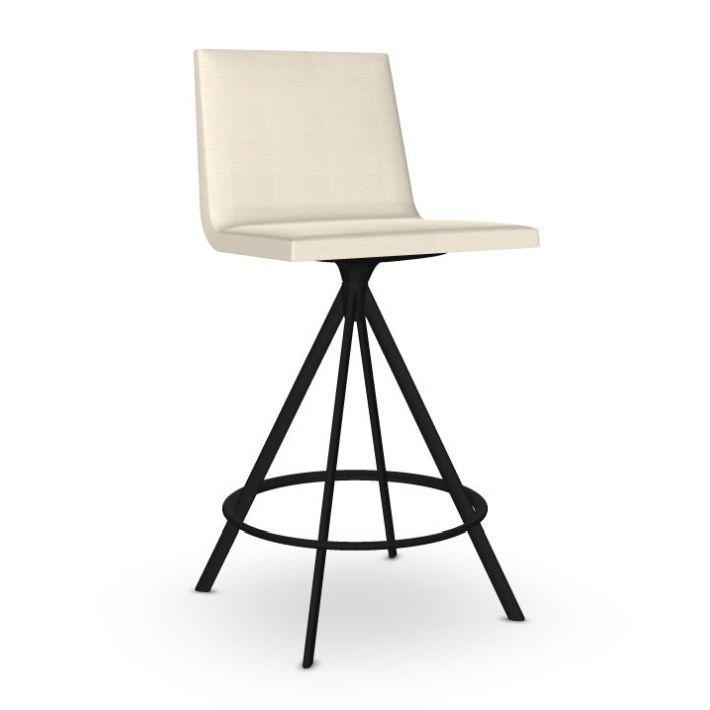 Lineal Comfort Barstool, White Upholstery / Black Tube Swivel Base
