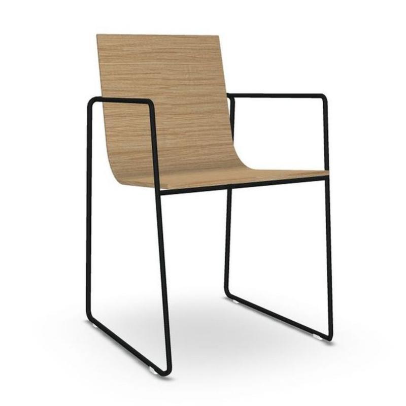 Lineal Armchair, Oak Seat / Black Sled Base