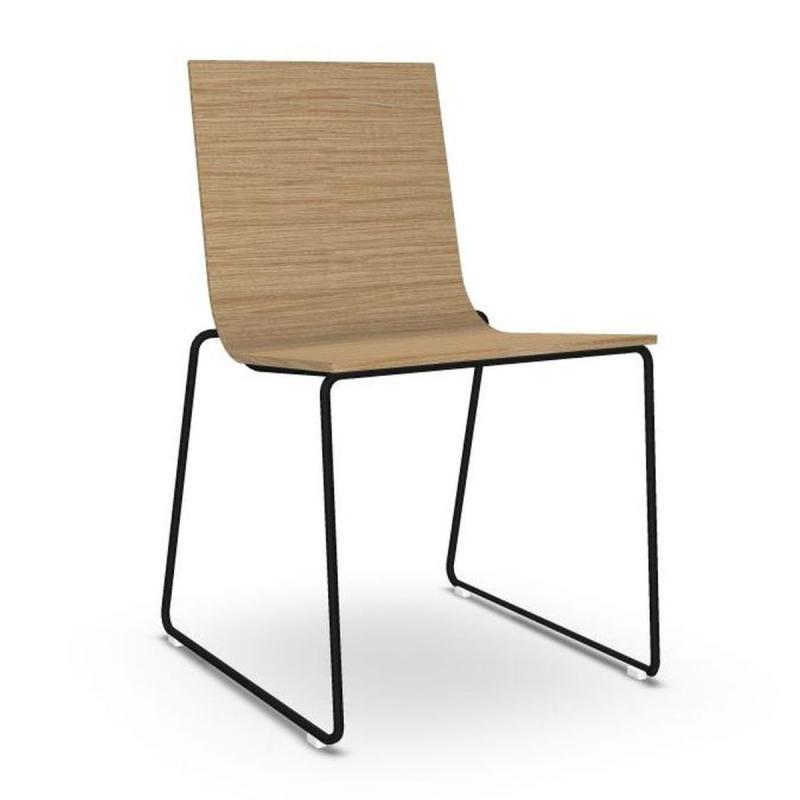 Lineal Chair, Oak Seat / Black Sled Base
