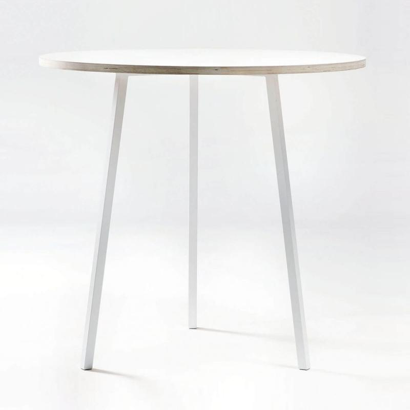 Loop Stand Round High Table, White Laminate Top / White Frame