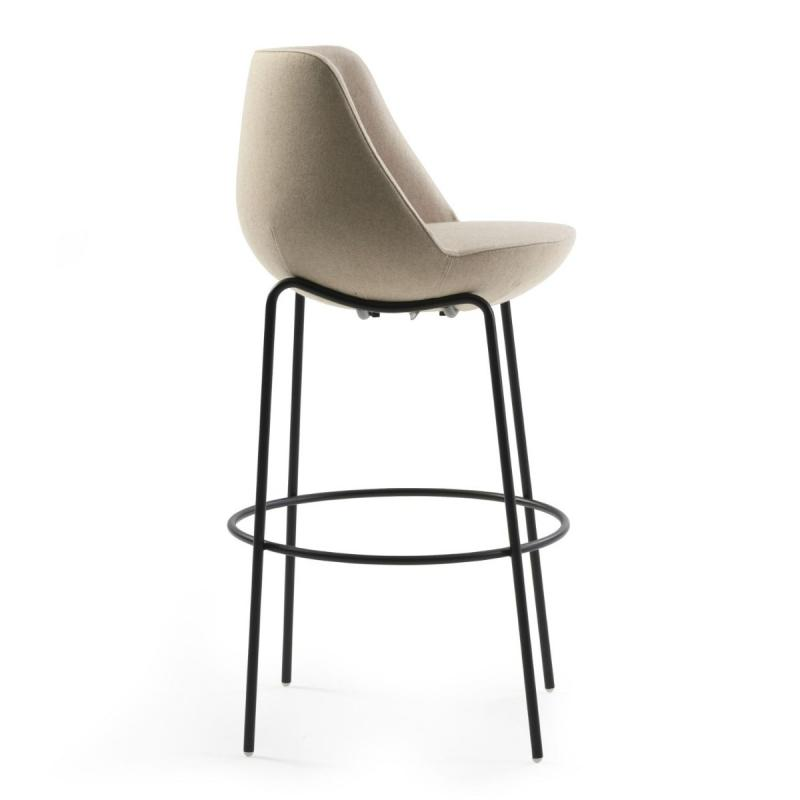 Magnum Low Stool, Beige Upholstery / Black Tube Legs