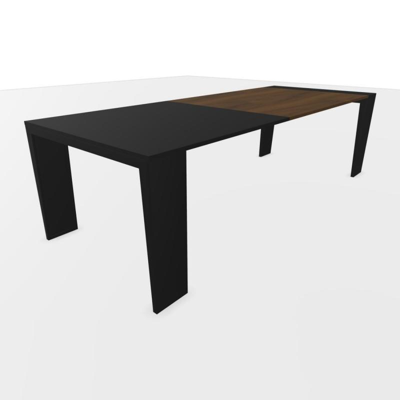 Mahia Desk, 260x100cm, Black Laminate & Walnut Top / Black Frame