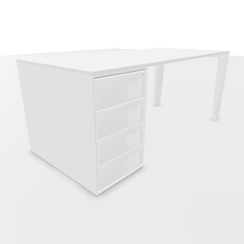 Mahia Desk, With Support Pedestal, 180x80cm, White Laminate Top / White Frame