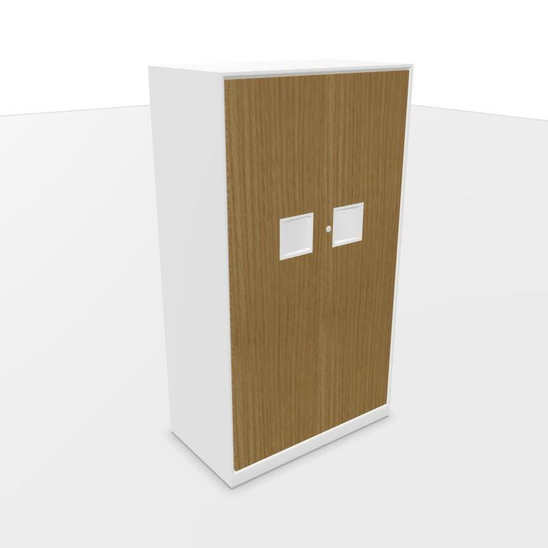 Mahia Hinged Wood Doors Cabinet, 80x45x143.5cm, Natural Oak / White Frame