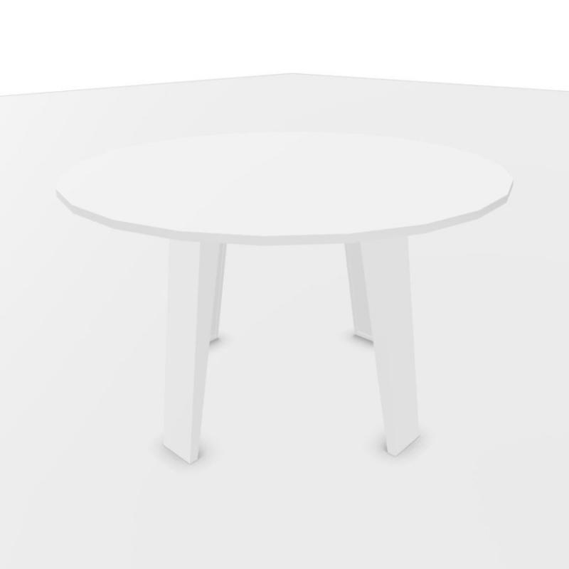 Mahia Meeting Table, Ø120cm, White Laminate Top / White Frame