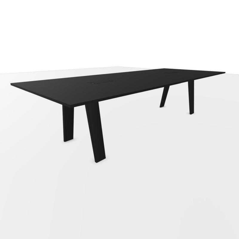 Mahia Meeting Table, 300x120cm, Black Laminate Top / Black Frame