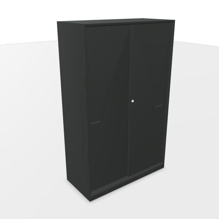 Mahia Sliding Steel Doors Cabinet, 100x45x161cm, Anthracite