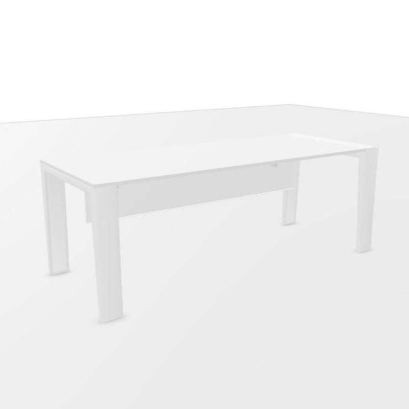 Mahia Direction Table, With Modesty Panel, 200x80cm, White Laminate Top / White Frame