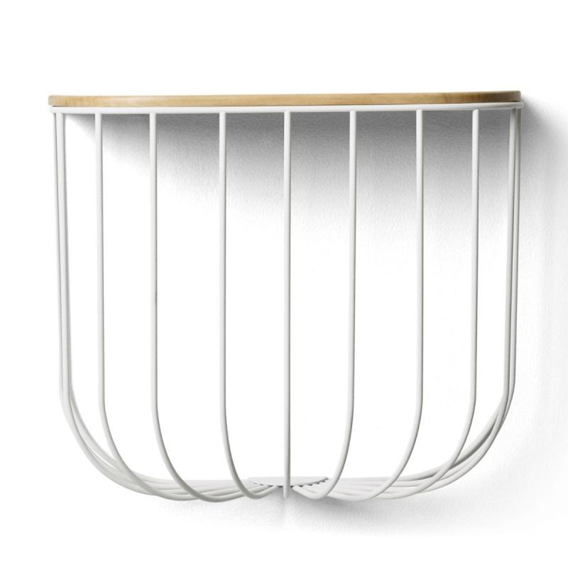 Cage Shelf, White Steel/Light Ash