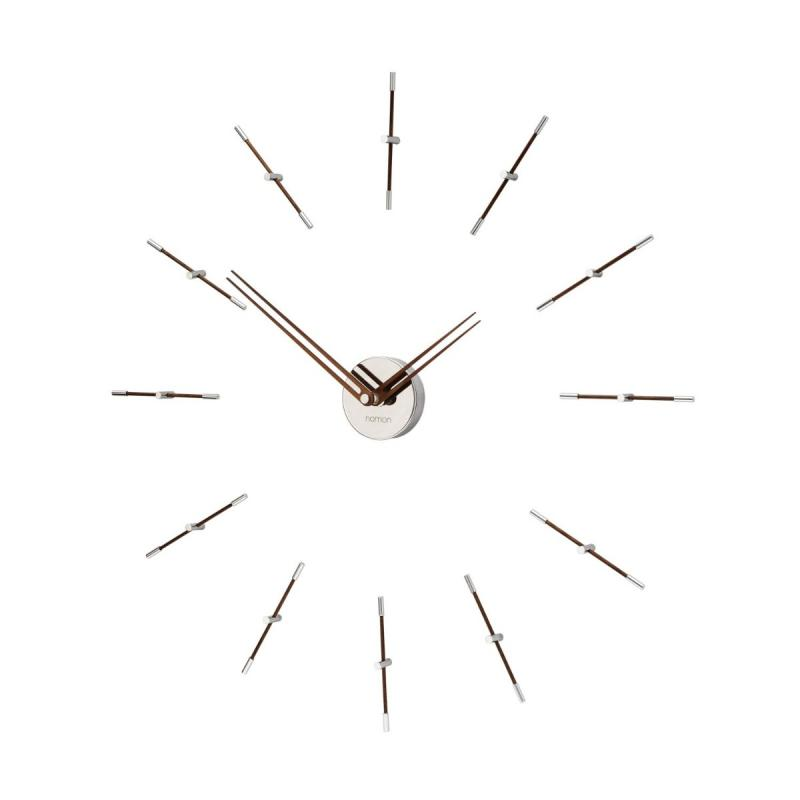 Mini Merlin Wall Clock, Chromed / Walnut