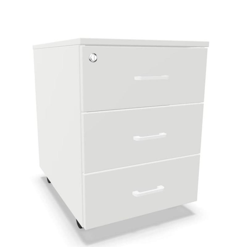 Mobile Pedestal With 3 Drawers, With Lock, White MFC
