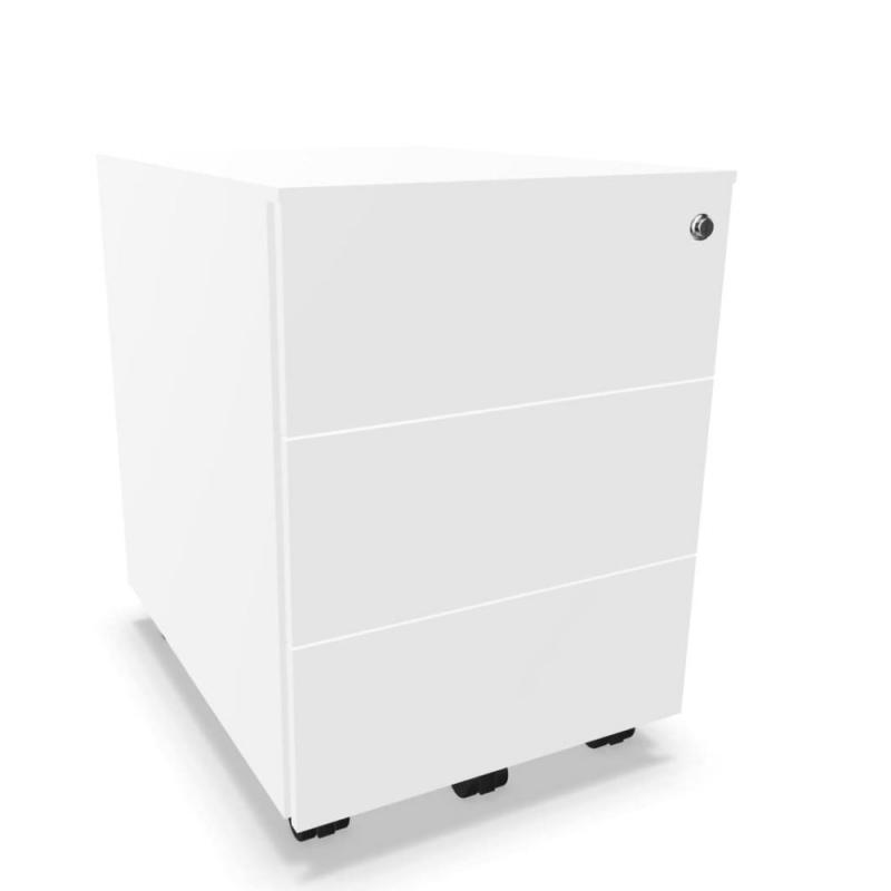 Mobile Pedestal With 3 Drawers, With Lock, White Steel