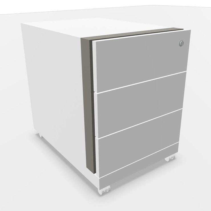 Mobile Pedestal With Three Drawers, White