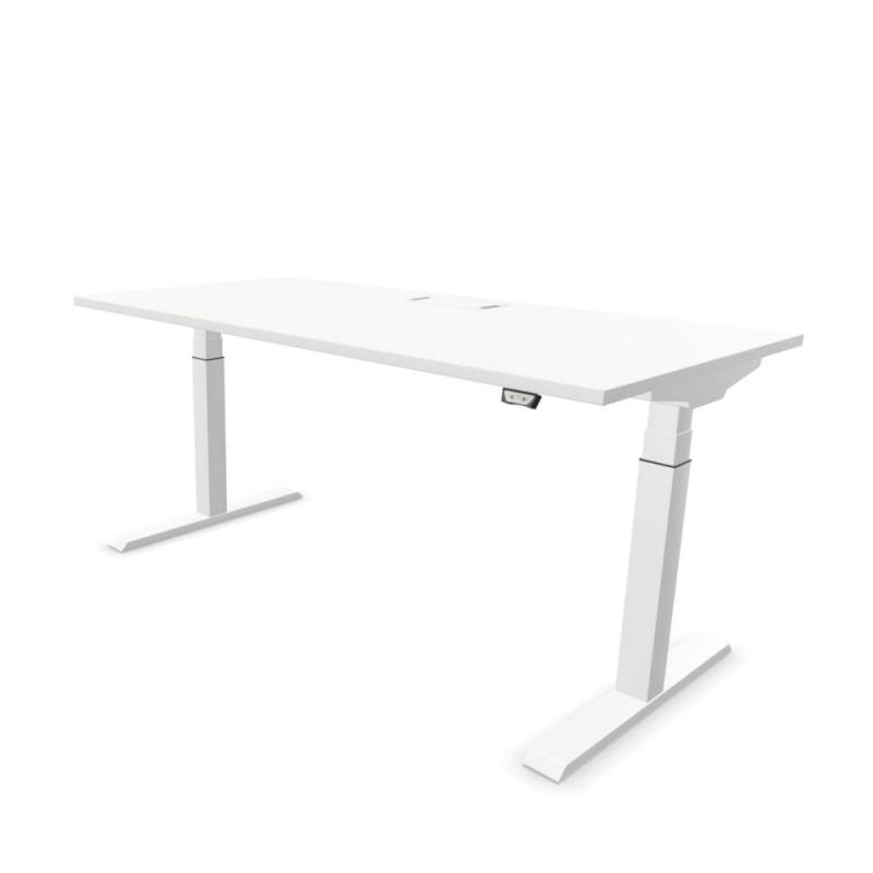 Mobility Step Height Adjustable Table, 160x80x64-129cm, White MFC Table Top / White Metal Frame