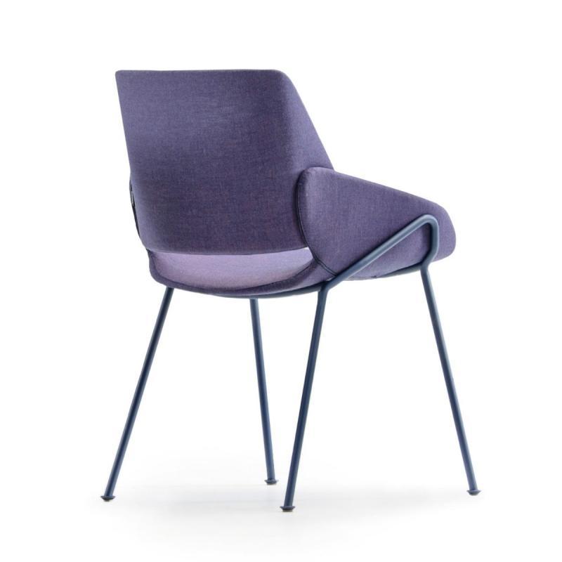 Monk Chair, Light Grey Seat / Blue Metal Frame