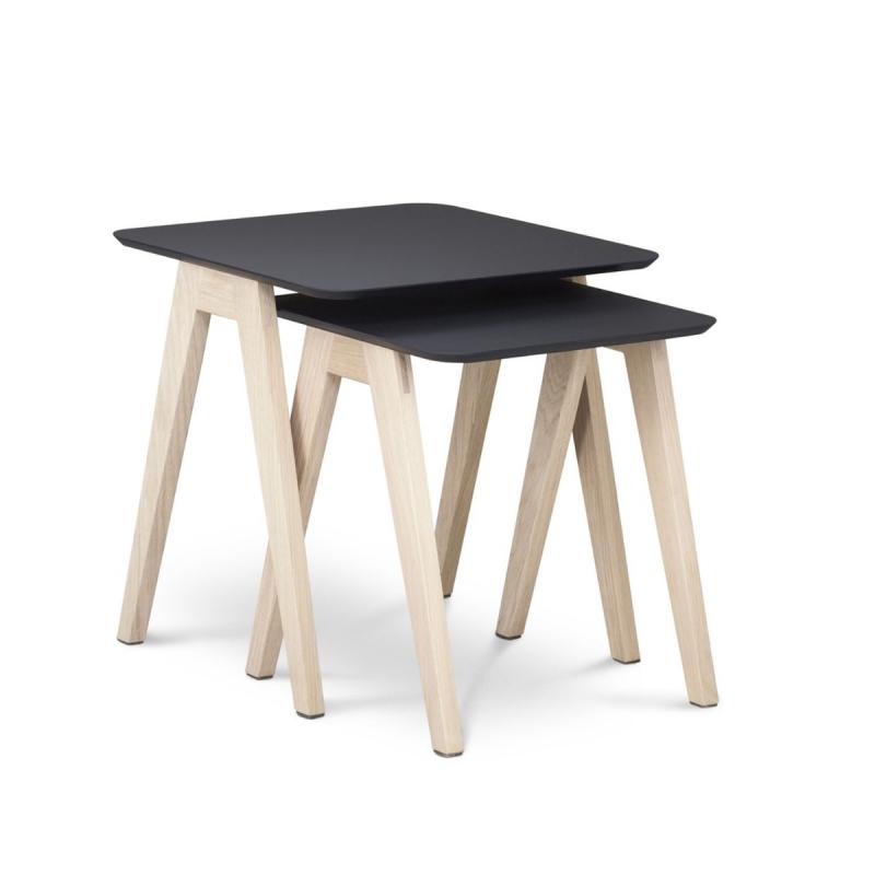 Monk Low Table, Mini, Black Fenix Top / Oak Base