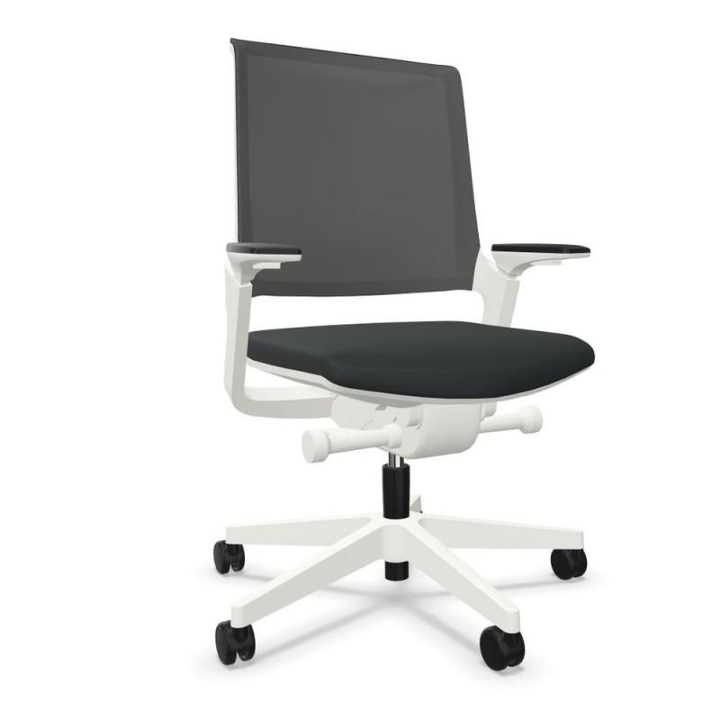 MOVYis3 14M6 Office Chair, Mesh Backrest / Black Seat / White Base