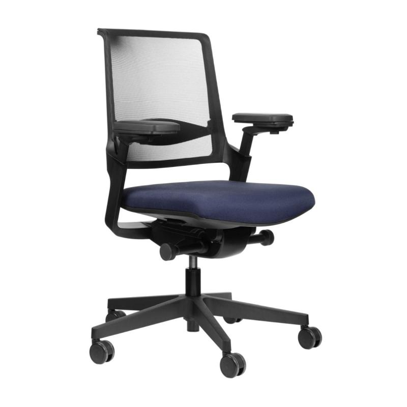MOVYis3 14M6 Office Chair, Mesh Backrest / Dark Blue Seat / Black Base