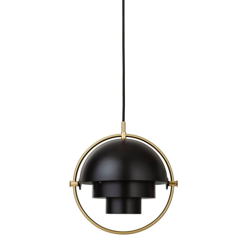Multi-Lite Pendant, Small, Brass Base, Black Shade