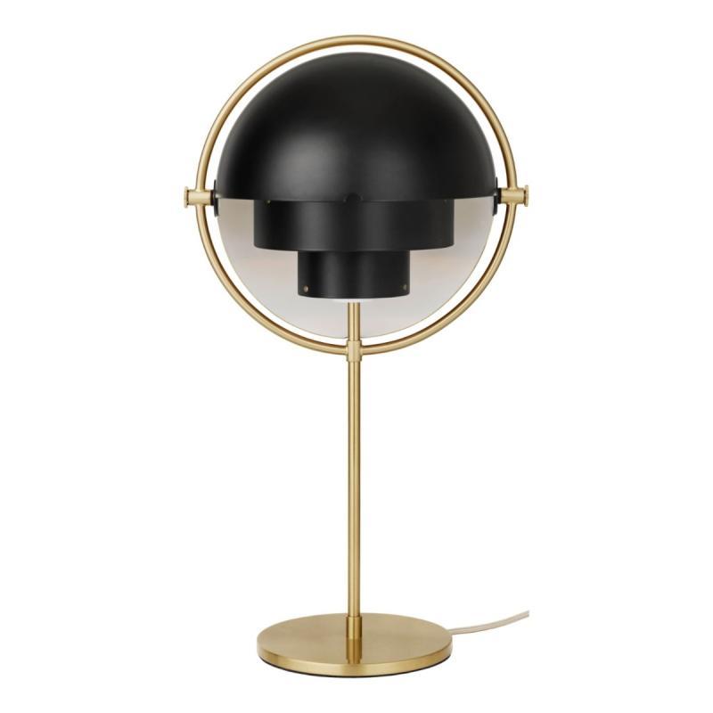 Multi-Lite Table Lamp, Brass Base, Black Shade
