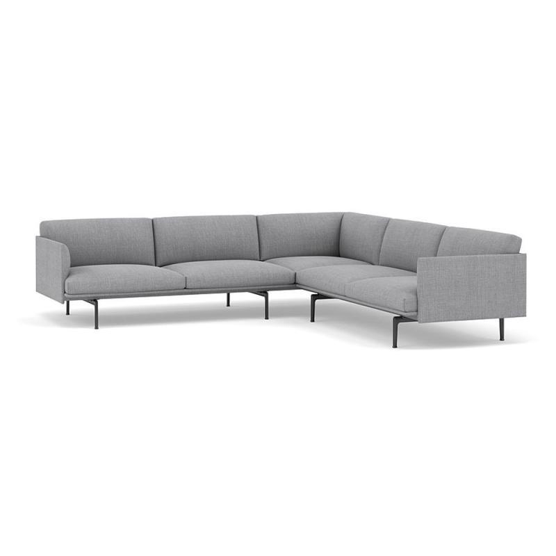 Outline Corner Sofa, Black Base, Light Grey Upholstery
