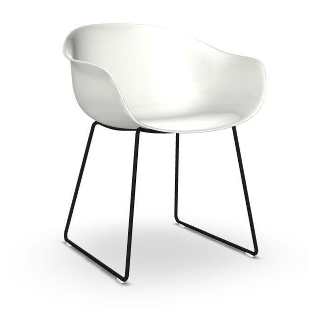 Next Armchair, White Seat / Black Sled Base